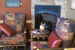 Sit down and relax next to the fireplace with your cup of coffee!