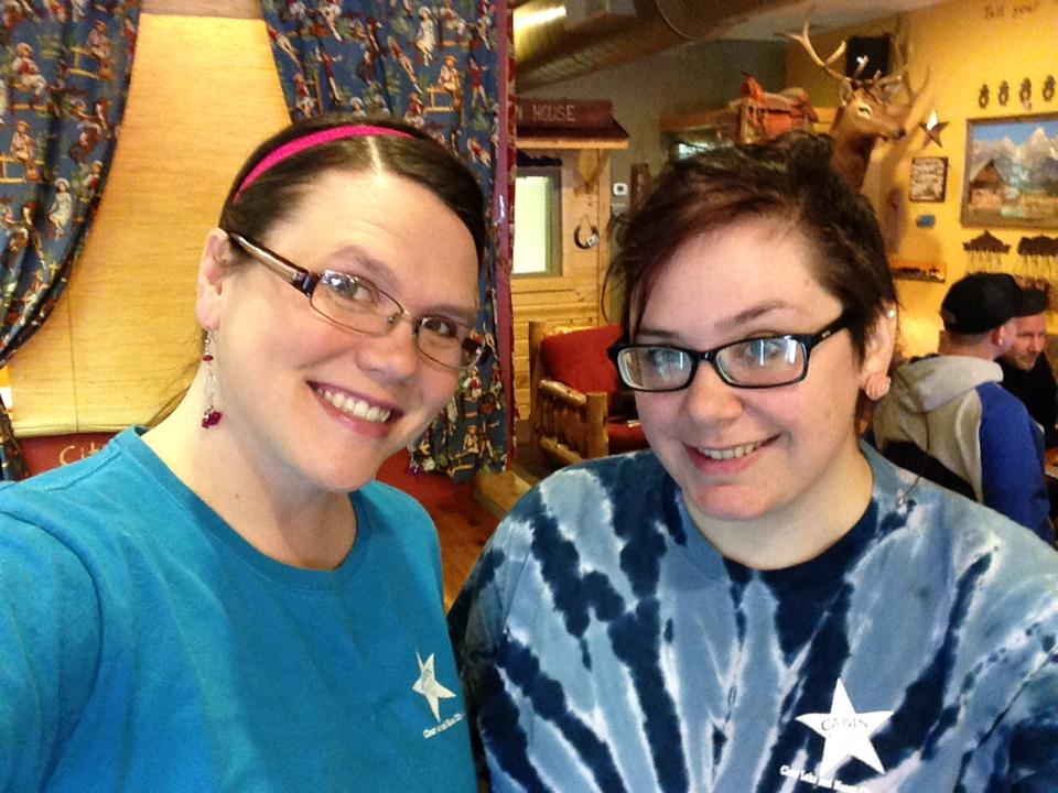 Molly and Hailey wearing their blue for Autism Awareness.