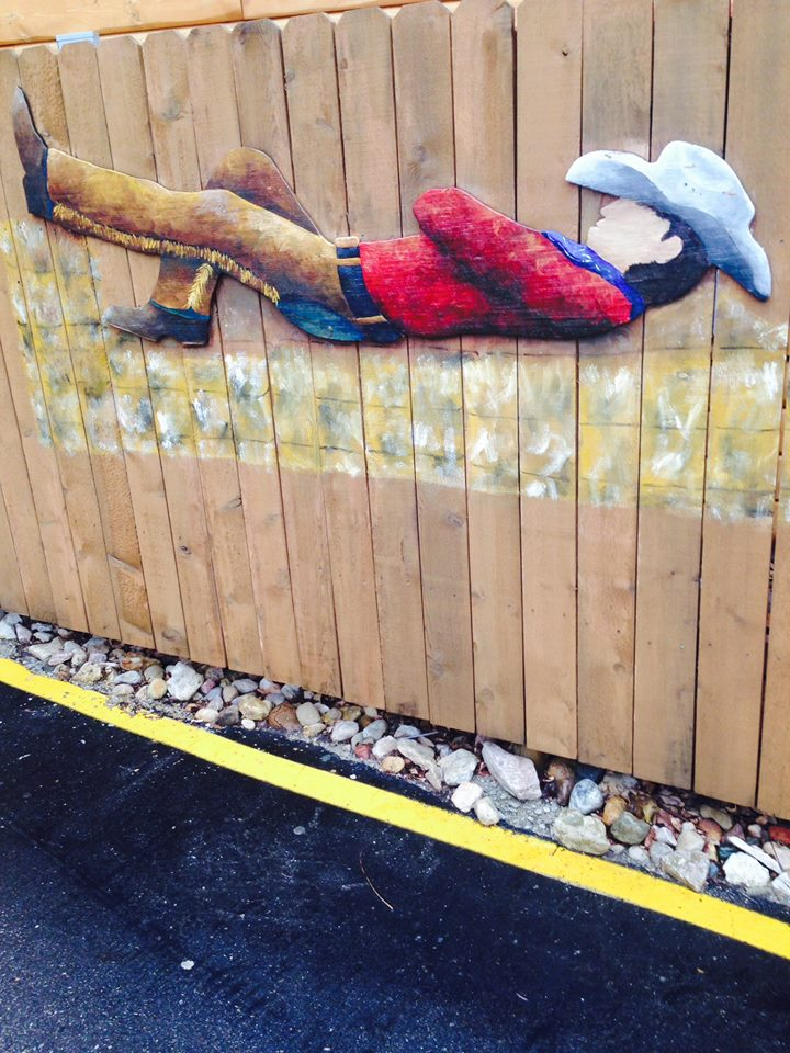 The cowboy in our drive-thru. Painted by Hailey