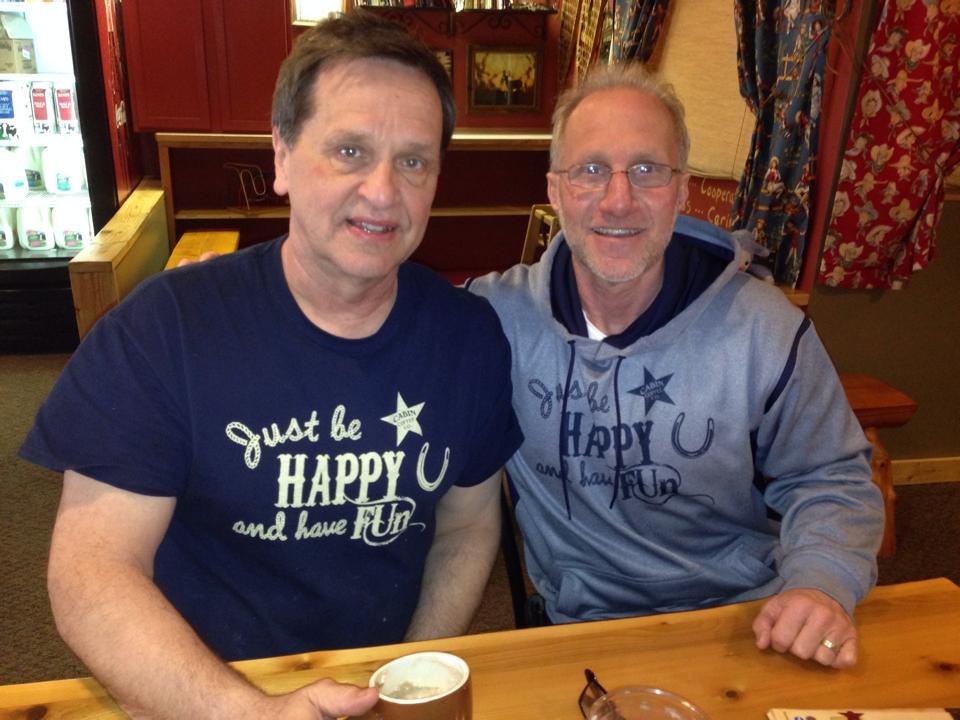 Brad and Dave our Breckenridge, Colorado owner sitting in the Kids Corral having a cup and a chat.