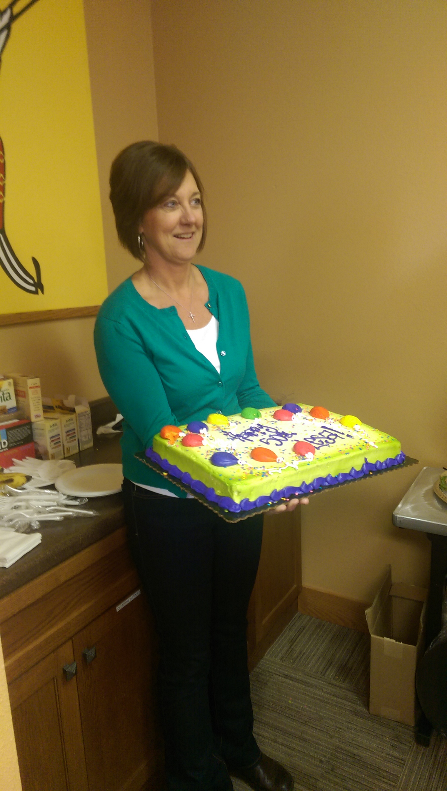During one of our franchise meetings it was Lesa's birthday! Lesa owns St. Charles Cabin Coffee.