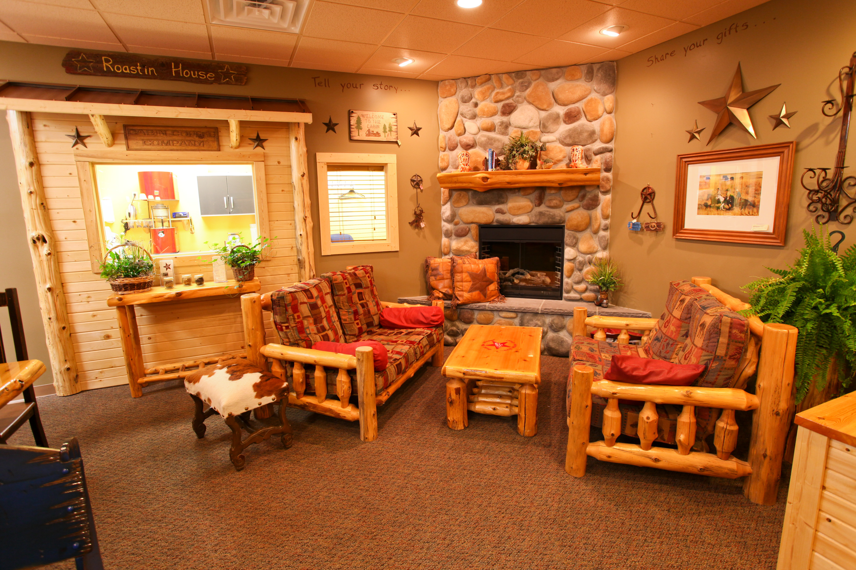 Relax next to the fire with a coffee, a cinnamon roll, and a great book!