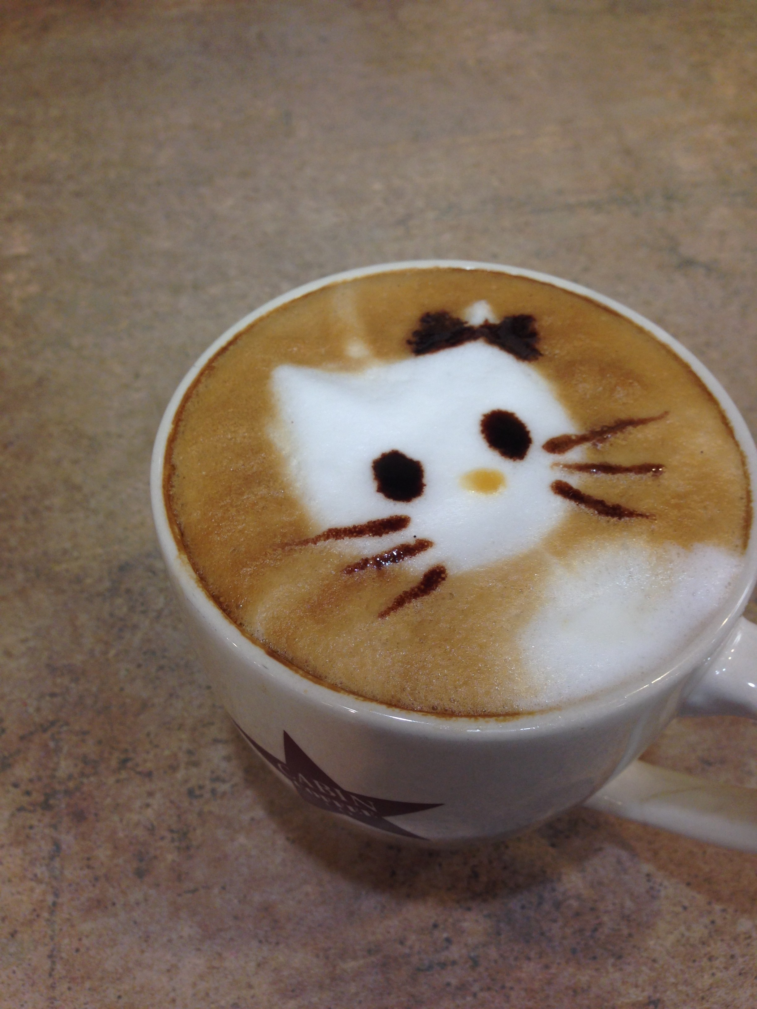One of our Clear Lake baristas LOVES Hello Kitty, so our Mason City baristas made her a cute latte!