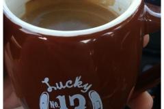 Some delicious Lucky #13 espresso in our adorable espresso cups.